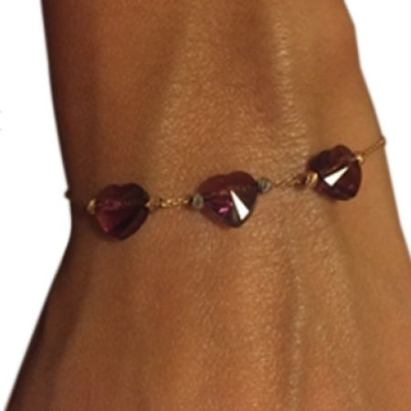 34% Off R&C Gems 24K Pink Gold Chain Bracelet With Swarovski Elements Hearts (Only $66 instead of $100)