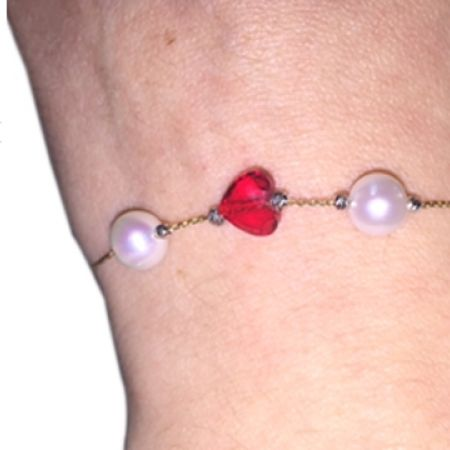 34% Off R&C Gems 24K Yellow Gold Chain Bracelet With 2 White Freshwater Pearl & 1 Red Swarovski Elements Heart Shape (Only $66 instead of $100)