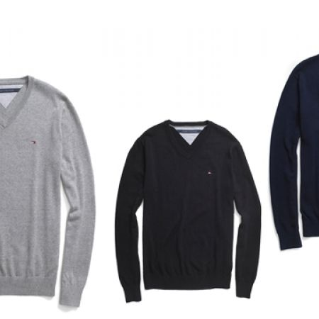41% Off Tommy Hilfiger Classic V-Neck Sweater - Medium - Navy Blue - Men (Only $47 instead of $80)