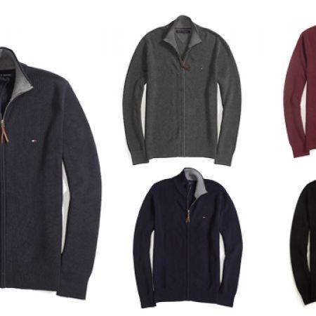 50% Off Tommy Hilfiger Full Zip Sweater - Medium - Black - Men (Only $55 instead of $110)