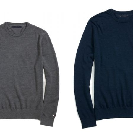 50% Off Tommy Hilfiger Crew Neck Sweater With Patches - Large - Grey - Men (Only $45 instead of $90)