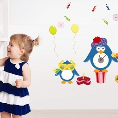 33% Off DIY Wall Stickers Kids Clock - Cute Birthday Party Pinguin - 70X65 cm (Only $10 instead of $15)
