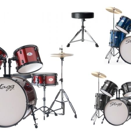 25% Off Stagg Set Of 5 Pcs 22in Drum Kit With Cymbals, Drumsticks & Drum Throne - Black (Only $450 instead of $600)