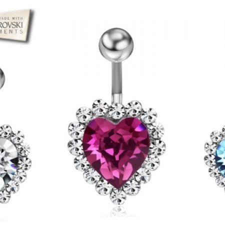 50% Off Swarovski Elements Heart Belly Button Piercing - Purple - Women (Only $29 instead of $58)