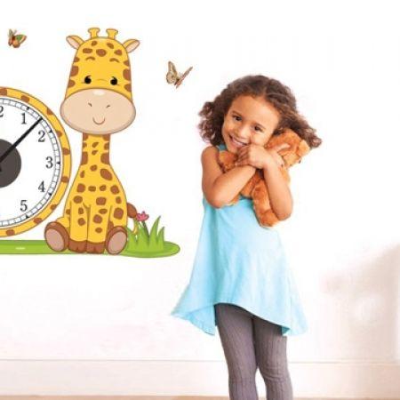 33% Off DIY Wall Stickers Kids Clock - Cute Giraffe - 62X51 cm (Only $10 instead of $15)