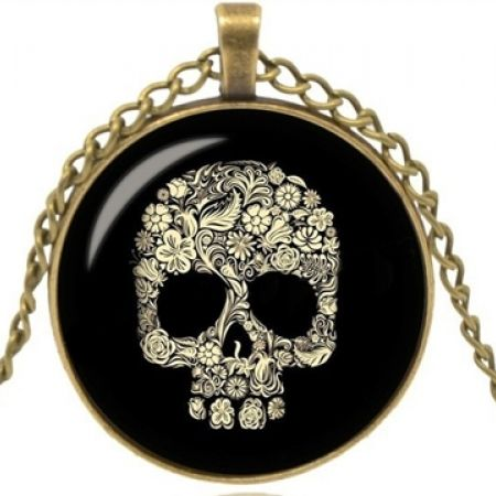 50% Off Glass Skull Necklace With Bronze Vintage Chain (Only $5 instead of $10)