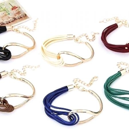 50% Off Colored Gold Bracelets with PU Leather Cord Wrap - Black (Only $6.50 instead of $13)