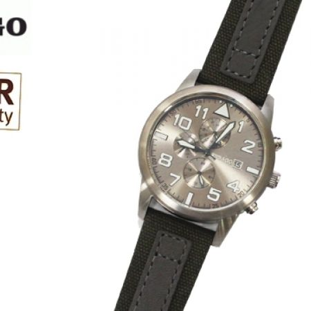 55% Off Sebago Genuine Leather Watch - Olive grey /Silver - Men (Only $76 instead of $169)