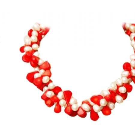 50% Off R&C Gems White Freshwater Pearls And Red Coral Short Necklace - White/Red - Women (Only $110 instead of $220)
