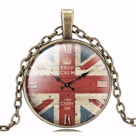 50% Off English Flag Quartz-Watch Necklace (Only $5 instead of $10)