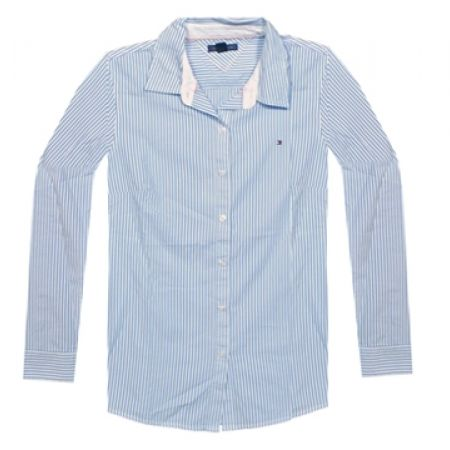 63% Off Tommy Hilfiger Long Sleeve Striped Shirt - White/Light Blue - Large - Women (Only $33 instead of $89)