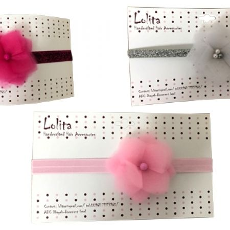 25% Off Lolita Medium Tulle Flower Stretchy Glitter Headbands - White/Silver - Kids (Only $9 instead of $12)
