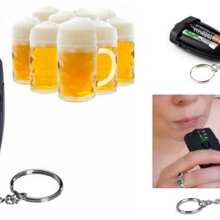 50% Off Portable Red Light LED Flashlight Alcohol Breath Tester Keychain - Black (Only $5 instead of $10)