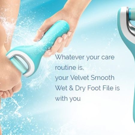 35% Off Velvet Comfort Smooth Wet and Dry Pedi Rechargeable Electric Hard Skin Remover - Blue (Only $13 instead of $20)