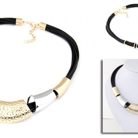50% Off Leather Necklace With Gold Silver Collier (Only $10 instead of $20)