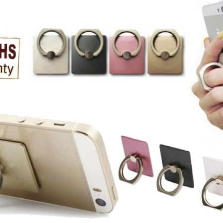 50% Off Finger Phone Ring Grip With Car Hook - Black (Only $3 instead of $6)