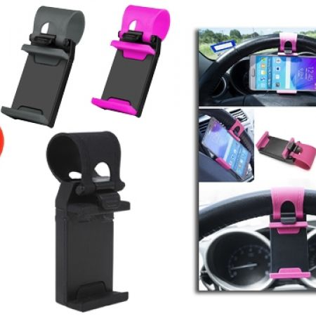 58% Off Multi-Functional Car Steering Wheel Mobile Phone Holder - Grey (Only $2.50 instead of $6)