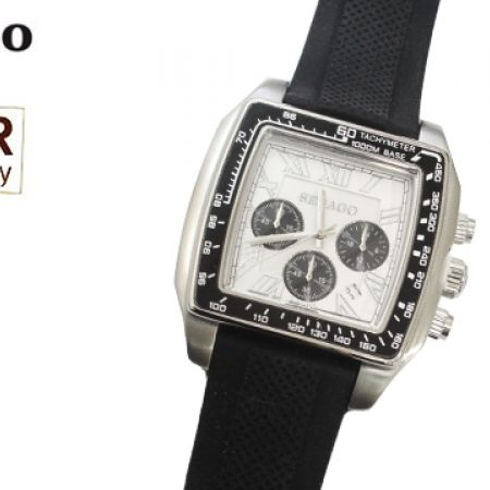 55% Off Sebago Square Rubber Watch - Black/Silver - Men (Only $72 instead of $159)