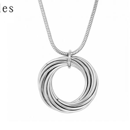 60% Off Principles By Ben de Lisi Designer Silver Multi Hoop Long Pendant Necklace - Women (Only $10 instead of $25)