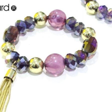 65% Off Mood Luxe By Jon Richard Round Jet Disc Beaded Bracelet - Purple/Gold - Women (Only $7 instead of $20)