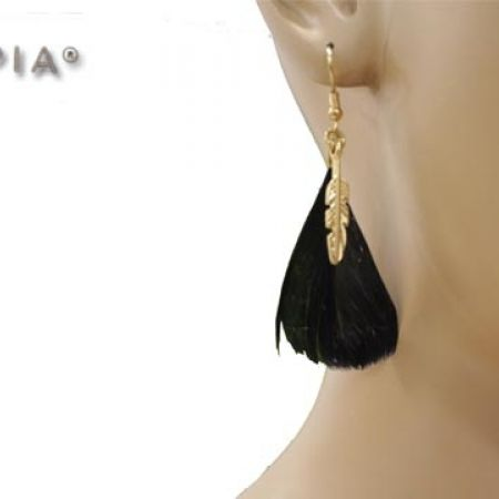 30% Off Opia Black Feather Earrings - Women (Only $7 instead of $10)
