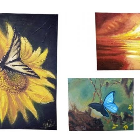 20% Off Oil Original Painting On Canvas By William Abelnour Professional Painter - 44X37 cm - Blue Butterfly (Only $360 instead of $450)