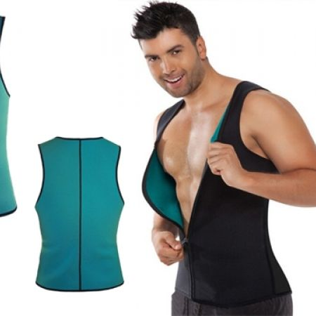 33% Off Hot Shapers Blue Neoprene Slimming Vest Corsets With Zipper - Medium - Men (Only $12 instead of $18)