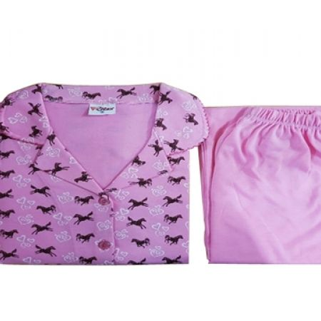 36% Off Ritex 2-Piece Pink Horses Cotton Super Soft Pajama Set For Women - Medium (Only $9 instead of $14)
