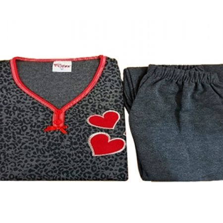 36% Off Ritex 2-Piece Grey Heart Zebra Patterns Cotton Super Soft Pajama Set For Women - Small (Only $9 instead of $14)