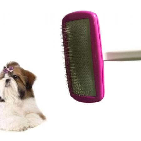 42% Off Premium Plastic Turning Handle Slicker Pet Brush - Medium - White/Pink (Only $7 instead of $12)