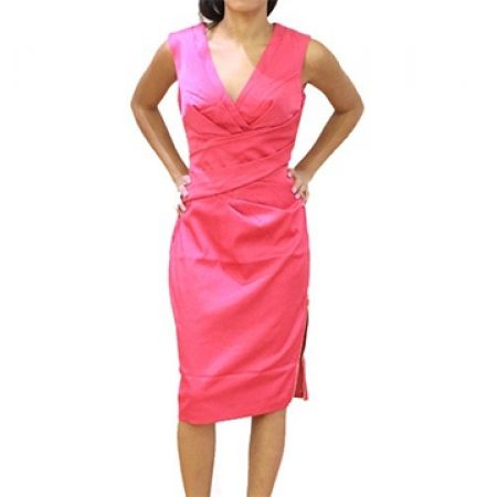 75% Off Lipsy London Pink Sleeveless Wrap Dress with Side Zip - Size (EU): 36 (Only $30 instead of $120)