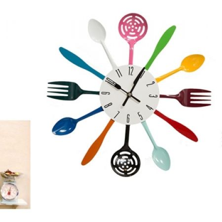 22% Off Stainless Steel Colorful Cutlery Kitchen Wall Clock (Only $35 instead of $45)