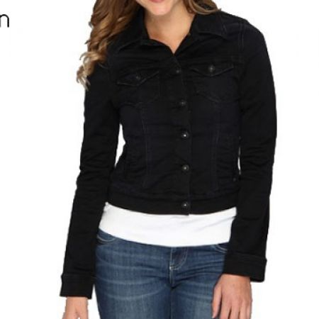 41% Off Calvin Klein Button Front Long Sleeve Dark Navy Jeans Jacket For Women - Medium (Only $68 instead of $115)
