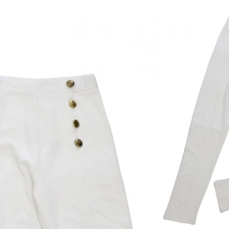 31% Off Kikiriki White Classy High Waist Pants With Golden Buttons - Medium (Only $27 instead of $39)