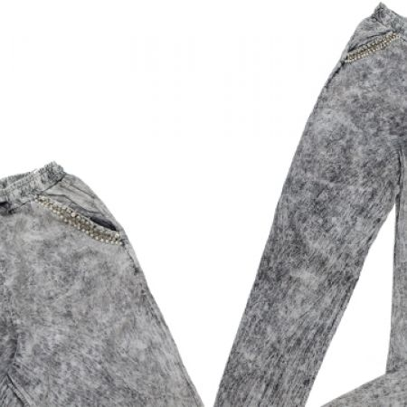 30% Off RE Grey Bleached Loose Pants With Pearls & Strass Pockets For Women - Size: XS (Only $30 instead of $43)