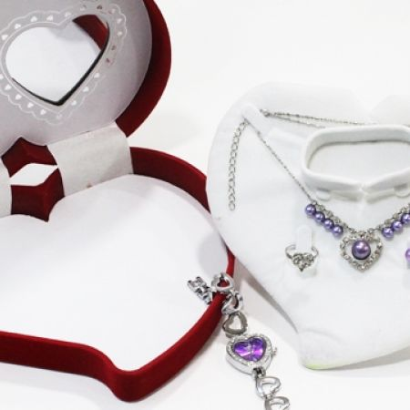 28% Off Red Heart Shape Gift Box Jewelry Set Of Purple Pearl Necklace, Earrings, Ring and Hearts Watch For Women (Only $18 instead of $25)