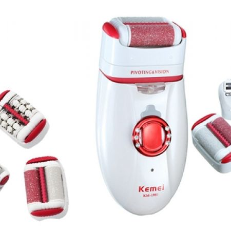 33% Off Kemei 3 In 1 KM-1981 Red &White Rechargeable Lady Epilator Shaver Dead Skin & Callus Remover (Only $27 instead of $40)
