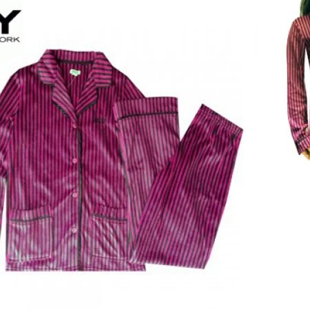 38% Off DKNY Fuschia & Black Striped 2 Pcs Velour Pajama For Women Small (Only $75 instead of $120)