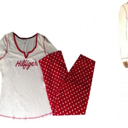 38% Off Tommy Hilfiger Red & White Dotted 2 Pcs Cotton Pajama For Women - Small (Only $75 instead of $120)