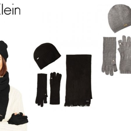 47% Off Calvin Klein Set Of Three-Piece Hat, Scarf and Flip Tip Gloves For Women - Black (Only $56 instead of $105)