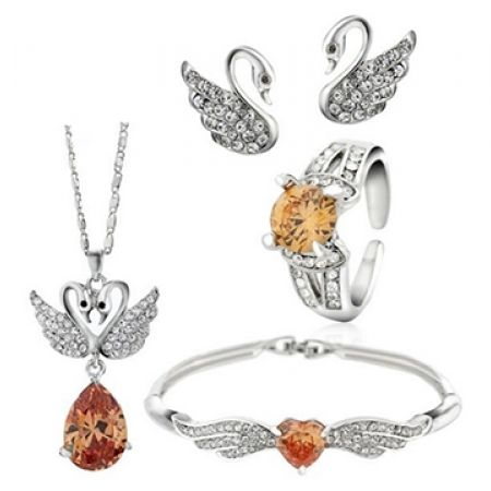 57% Off Swarovski Elements Set Of Orange Swan Necklace, Bracelet, Earrings and Ring 5 Pcs For Women (Only $60 instead of $138)