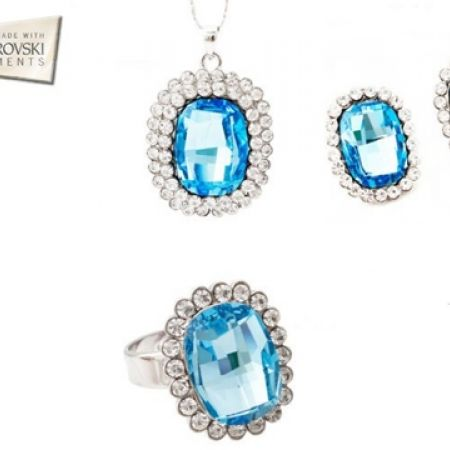 20% Off Swarovski Elements Set Of Blue Necklace With Earrings & Ring For Women (Only $156 instead of $195)