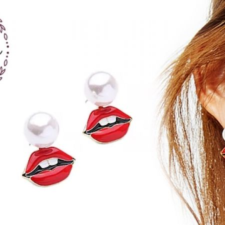 26% Off Lumalive Rep Lips Kiss & Tell Pearl Jackets Earrings For Women (Only $12.5 instead of $17)