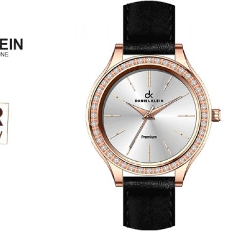 43% Off Daniel Klein DK10580 Premium Fashionable Black Leather Strap Watch For Women (Only $39 instead of $69)