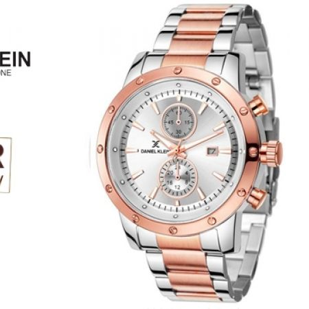 43% Off Daniel Klein DK11087 Premium Silver & Rose Gold Stainless Steel Strap Watch For Men (Only $39 instead of $69)