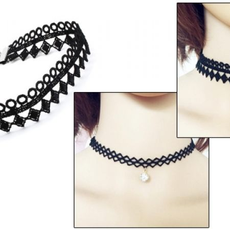 50% Off Tattoo Black Lace Choker With Pendant  For Women - Triangles (Only $3 instead of $6)
