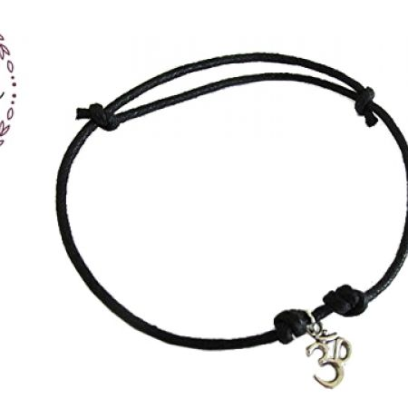 27% Off Lumalive Adjustable Silver Om Anklet With Black Rope For Women (Only $9.50 instead of $13)