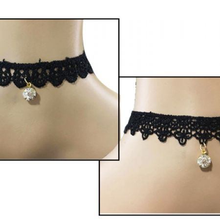 50% Off Tattoo Black Lace Choker With Pendant  For Women - Rounds (Only $3 instead of $6)