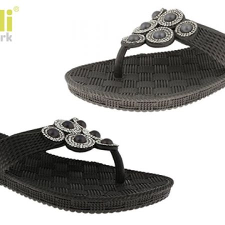 35% Off Capelli New York Woven Textured With Rhinestone & Pearl Trim Flip Flop For Women - Size: 36 - Black (Only $11 instead of $17)