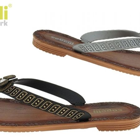 53% Off Capelli New York Opaque Jelly Thong Wood Print Flip Flop For Women - Size: 36 - Black (Only $14 instead of $30)